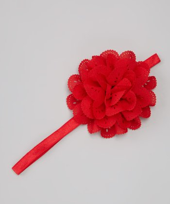 Red Eyelet Flower Headband
