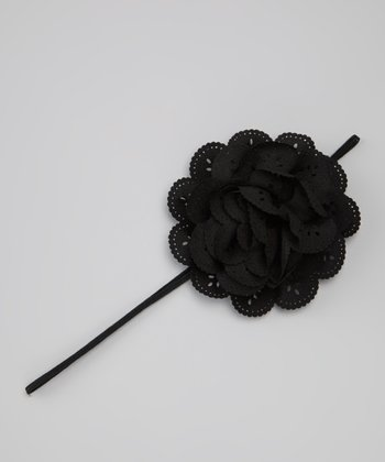 Black Eyelet Flower Headband