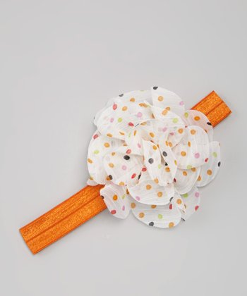 White & Orange Dot Flower Headband