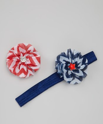 Patriotic Flower Clips & Blue Headband Set