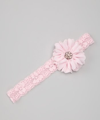 Pink Chiffon Flower & Lace Headband