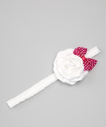 Hot Pink Bow & White Organza Headband