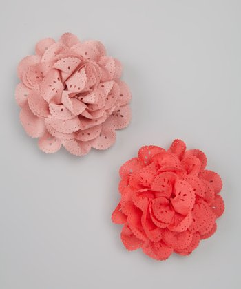 Salmon & Rose Eyelet Clip Set