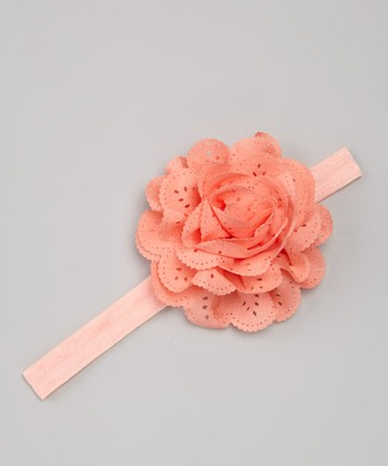 Dark Peach Eyelet Flower Headband