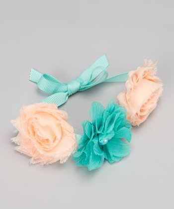 Peach & Teal Flower Bun Wrap