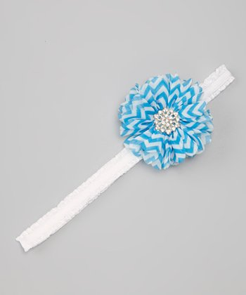 Blue Zigzag Flower Headband