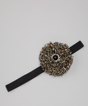 Black Leopard Flower Headband