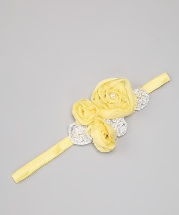 Yellow Imperial Chiffon Flower Headband