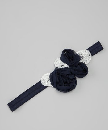 Navy Imperial Chiffon Flower Headband