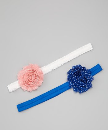 Royal Blue & Pink Dot Flower Headband Set