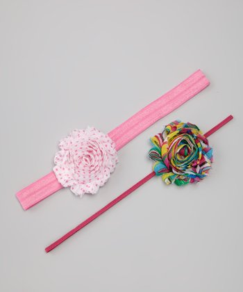 Rainbow & Pink Dot Flower Headband Set