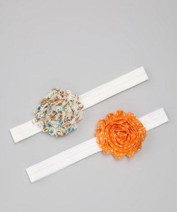 Orange Dots & Blue Floral Flower Headband Set