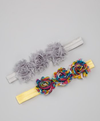 Rainbow & Gray Triple Mini Shabby Flower Headband Set
