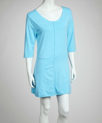 Aqua Blue Lauren Organic Three-Quarter Sleeve Tunic