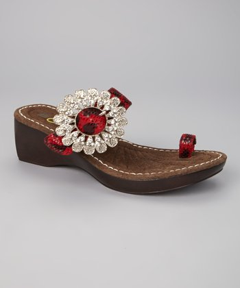 Red Cheetah Abrosy Sandal