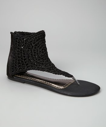 Black Knit Paula Gladiator Sandal