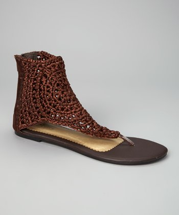 Coffee Knit Paula Gladiator Sandal