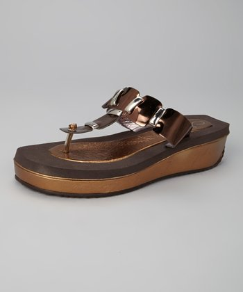Bronze Rachel Wedge Flip-Flop