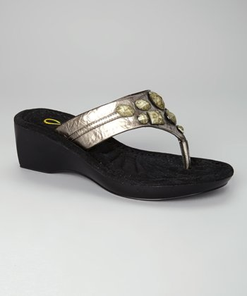 Pewter Beaded Sophie Wedge Flip-Flop