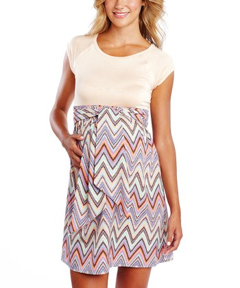 Pastel Zigzag Tie-Front Maternity Dress