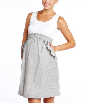 White & Gray Ruffle Pocket Maternity Empire-Waist Dress