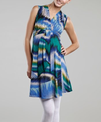 Blue Waves Maternity Dress