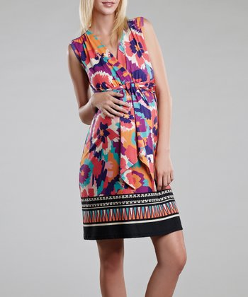 Border Print Front-Tie Maternity Sleeveless Dress