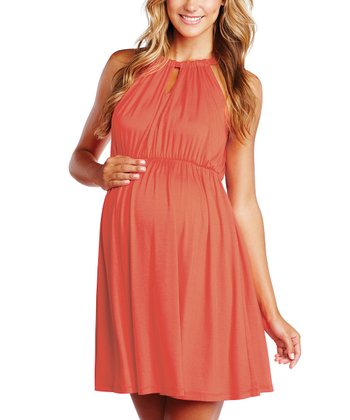 Peach Keyhole Maternity Halter Dress