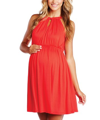 Red Keyhole Maternity Halter Dress