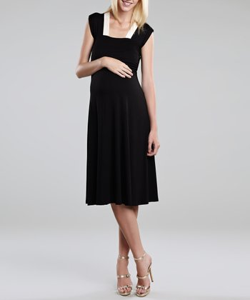 Black & Ivory Sweetheart Maternity Dress