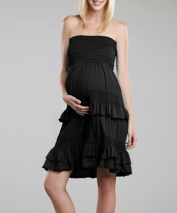 Black Crochet Maternity Convertible Dress