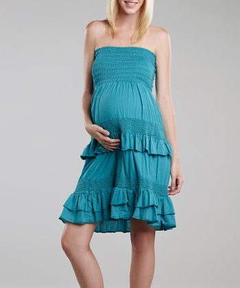 Turquoise Crochet Maternity Convertible Dress