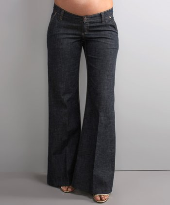 Dark Wash Under-Belly Maternity Wide-Leg Jeans
