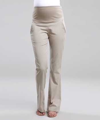 Khaki Over-Belly Maternity Bootcut Pants