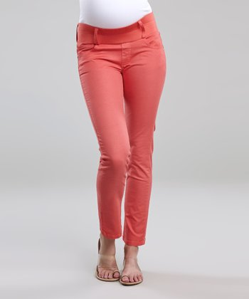 Coral Under-Belly Maternity Cropped Skinny Jeans