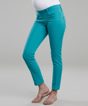 Turquoise Under-Belly Maternity Cropped Skinny Jeans