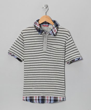 Gray Stripe Polo - Boys