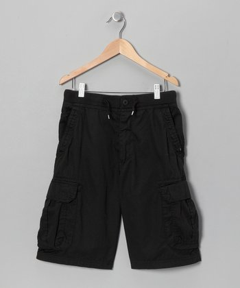 Black Knit-Waist Cargo Shorts