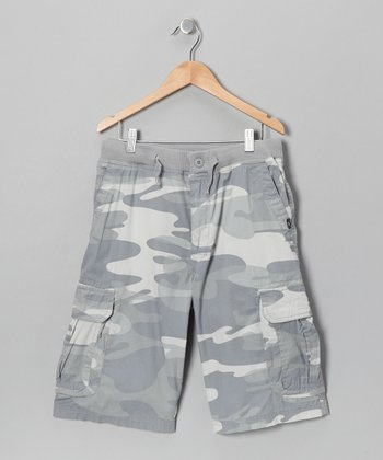 Air Foil Camo Knit-Waist Cargo Shorts