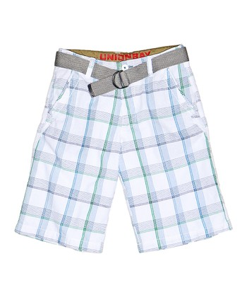 White Plaid Shorts - Boys