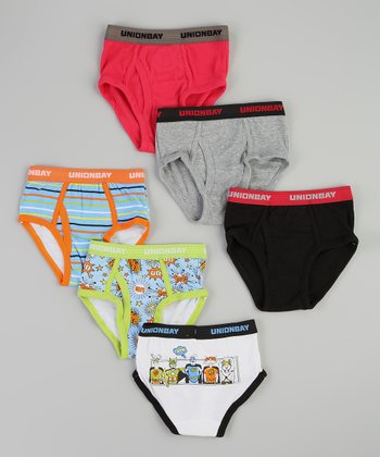 Blue & Red Stripe & Superheroes Brief Set - Boys