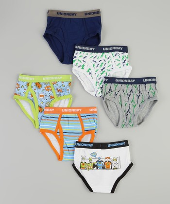 White & Blue Lightning & Superheroes Brief Set - Boys