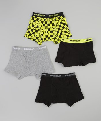 Black & Green Star Boxer Brief Set - Boys