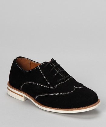 Black & White Faux Suede Saddle Shoe
