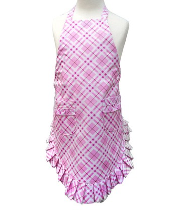 Pink Plaid Ruffle Apron - Kids