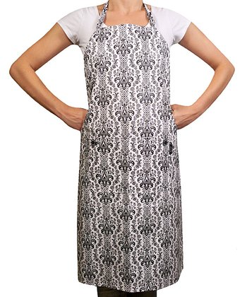 Black & White Damask Apron - Adult