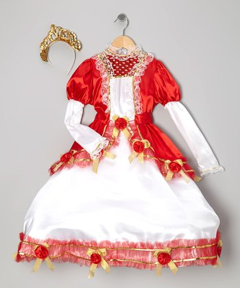 White & Red Venice Princess Dress-Up Set - Girls