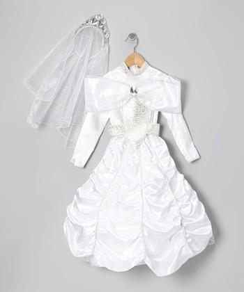 White Exquisite Princess Dress-Up Set - Toddler & Girls