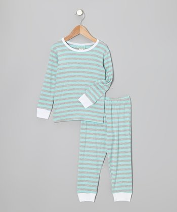 Blue & Gray Ivy League Pajama Set - Kids