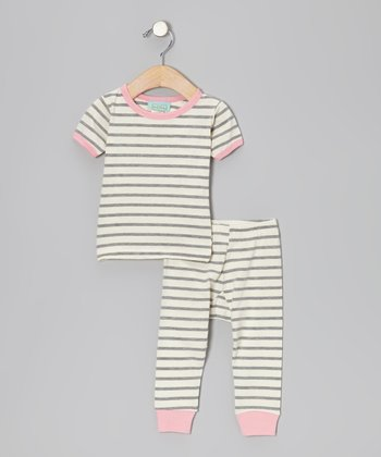 Gray & Cream Stripe Pajama Set - Infant